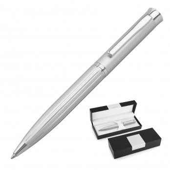 Stripe Silver Ballpoint Pen