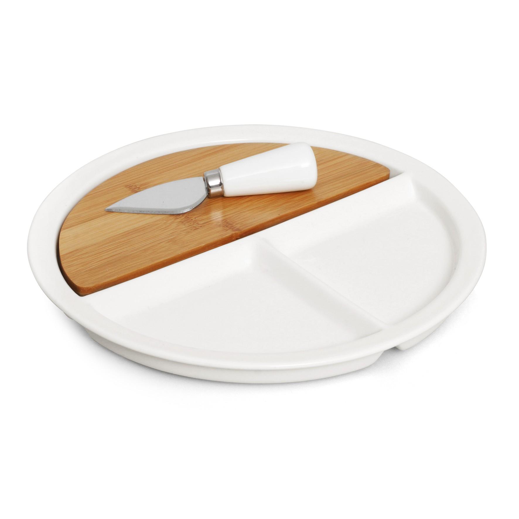 3pc Ceramic/Bamboo Cheese Set