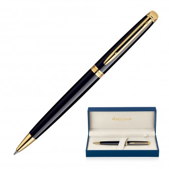 Metal Pen Ballpoint Waterman Hemisphere - Lacquer Black GT