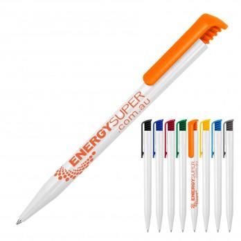 Plastic Pen Ballpoint Gloss White Tia