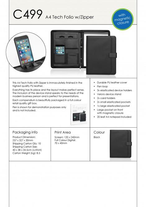 C499 A4 Tech Folio w/Zipper and Magnetic Closure