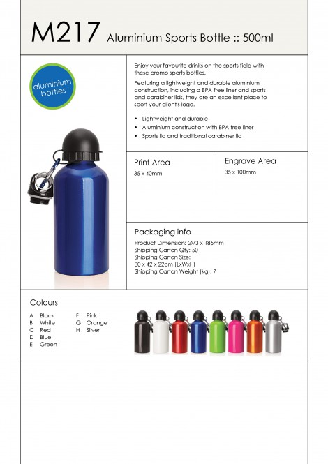 M217 Aluminium Sports Bottle - 500ml