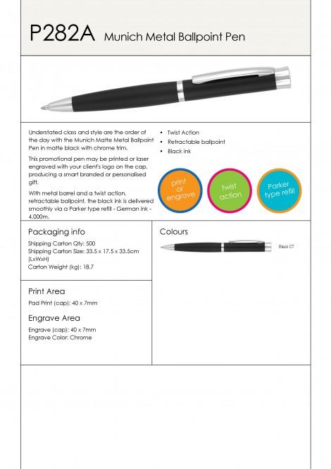P282A Munich Matte Metal Ballpoint Pen
