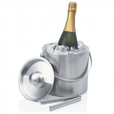 Contemporary Double Walled Stainless Ice Bucket