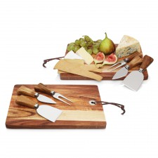 4pc Cheese Set w/Acacia Wood Cheese Board