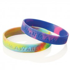 Multi-coloured Debossed Silicone Wristband