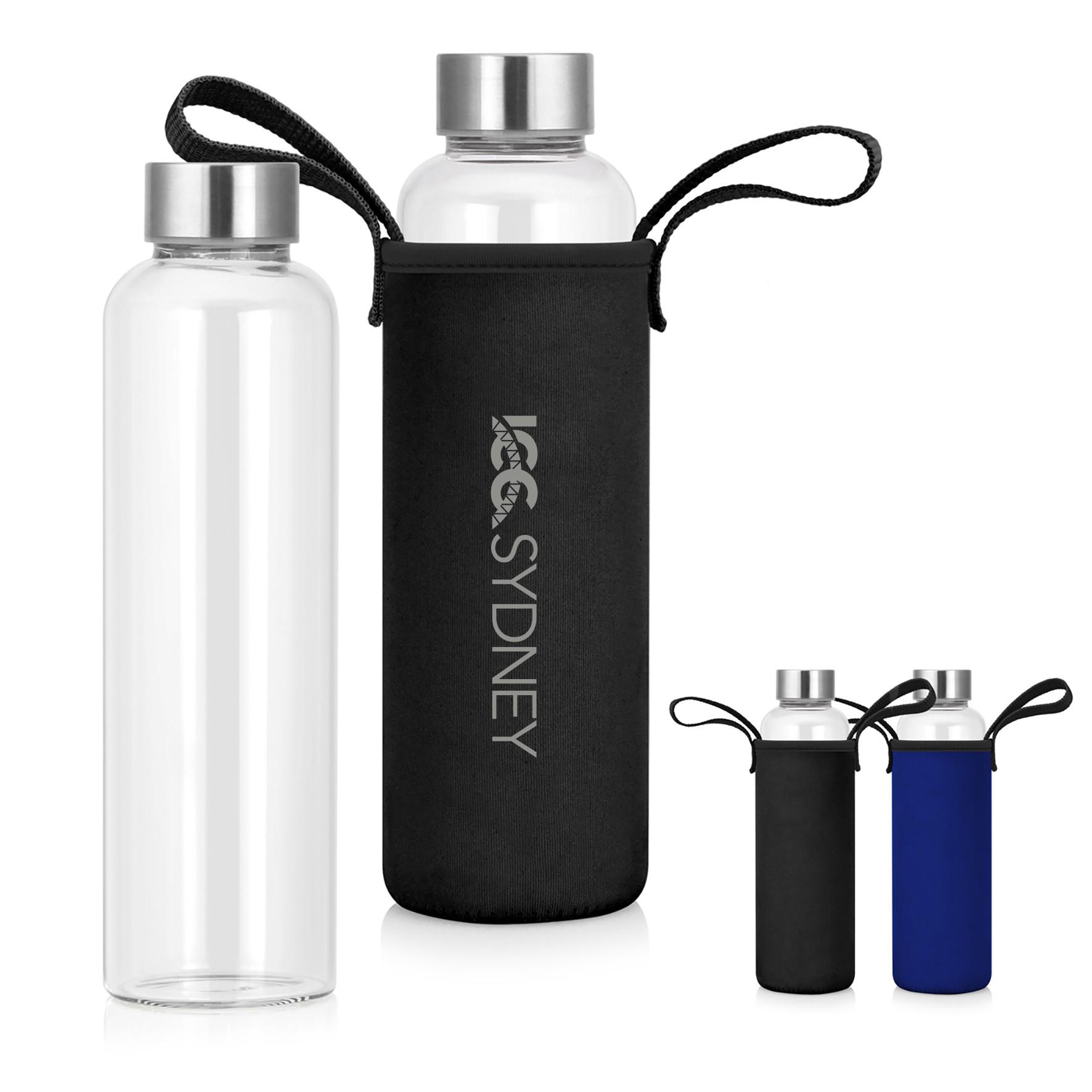 600ml Glass Drink Bottle w/Neoprene Sleeve
